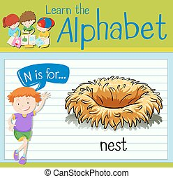 Flashcard letter N is for nest illustration