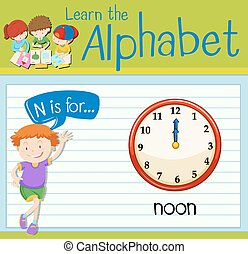Flashcard letter N is for noon illustration