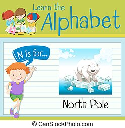 Flashcard letter N is for north pole illustration