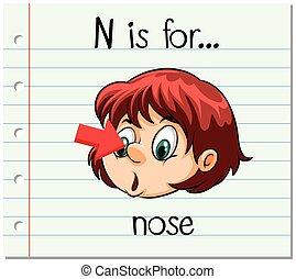 Flashcard letter N is for nose illustration