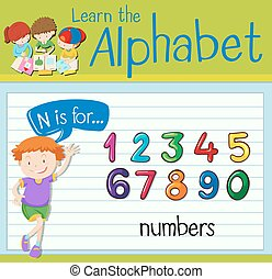 Flashcard letter N is for numbers illustration