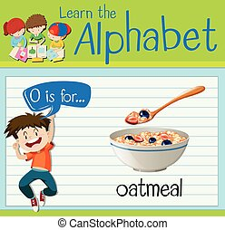 Flashcard letter O is for oatmeal