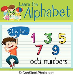 Flashcard letter O is for odd numbers illustration