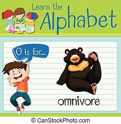 Flashcard letter O is for omnivore illustration