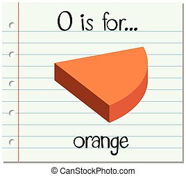 Flashcard letter O is for orange