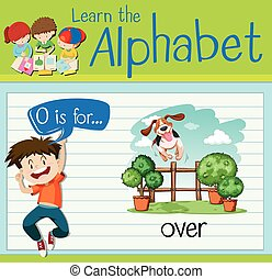 Flashcard letter O is for over