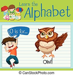 Flashcard letter O is for owl