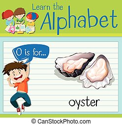 Flashcard letter O is for oyster illustration