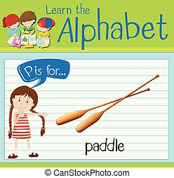 Flashcard letter P is for paddle illustration