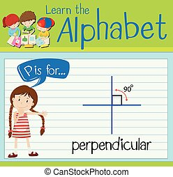 Flashcard letter P is for perpendicular illustration