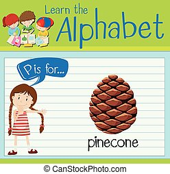 Flashcard letter P is for pinecone illustration