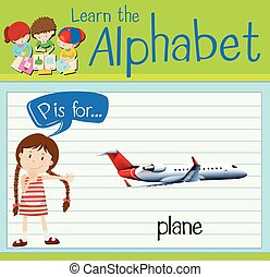 Flashcard letter P is for plane illustration