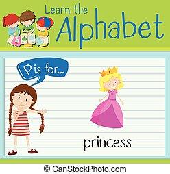 Flashcard letter P is for princess illustration