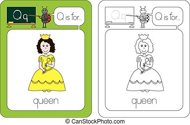 Flashcard for English language - letter Q is for queen