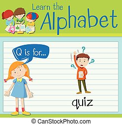 Flashcard letter Q is for quiz illustration