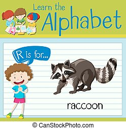 Flashcard letter R is for raccoon