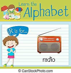 Flashcard letter R is for radio