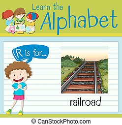 Flashcard letter R is for railroad illustration
