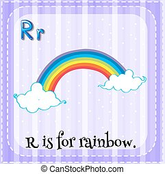 Flashcard letter R is for rainbow