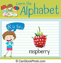 Flashcard letter R is for raspberry illustration
