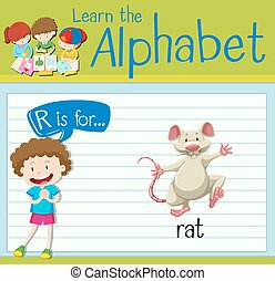 Flashcard letter R is for rat