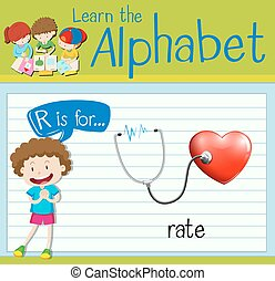 Flashcard letter R is for rate