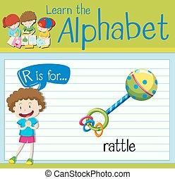 Flashcard letter R is for rattle illustration