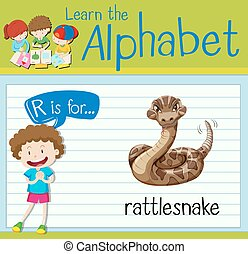 Flashcard letter r is for rattle snake illustration