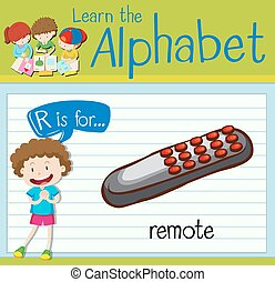 Flashcard letter R is for remote illustration