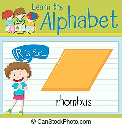 Flashcard letter R is for rhombus