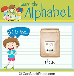 Flashcard letter R is for rice