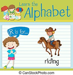 Flashcard letter R is for riding