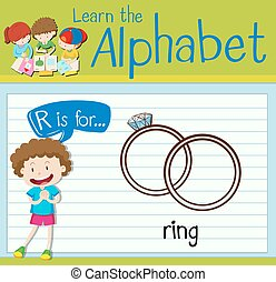 Flashcard letter R is for ring