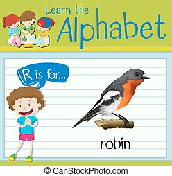 Flashcard letter R is for robin illustration