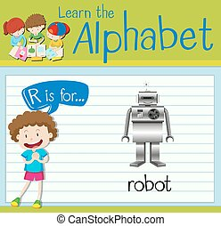 Flashcard letter R is for robot