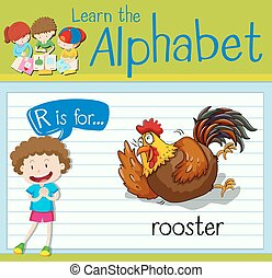 Flashcard letter R is for rooster