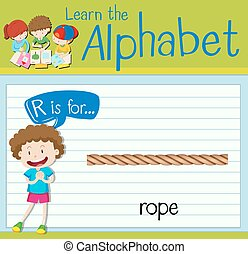 Flashcard letter R is for rope