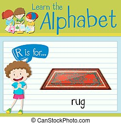 Flashcard letter R is for rug illustration
