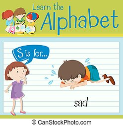 Flashcard letter S is for sad