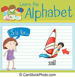 Flashcard letter S is for sail illustration