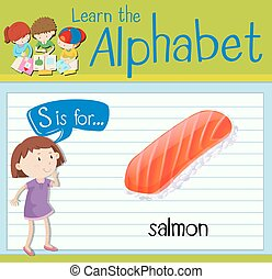 Flashcard letter S is for salmon