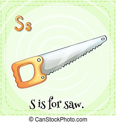 Flashcard letter S is for saw