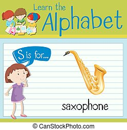 Flashcard letter S is for saxophone