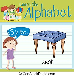 Flashcard letter S is for seat illustration