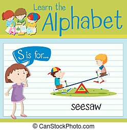 Flashcard letter S is for seesaw illustration