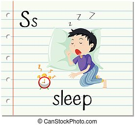 Flashcard letter S is for sleep