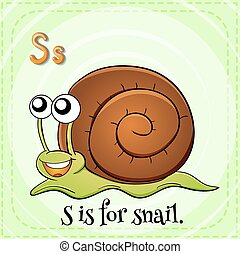 Flashcard letter S is for snail