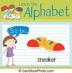 Flashcard letter S is for sneaker