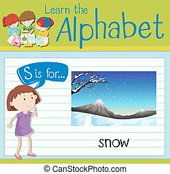 Flashcard letter S is for snow