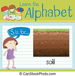 Flashcard letter S is for soil